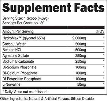 XPI Noxysurge Supplement Facts