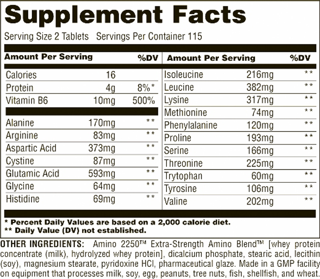 Universal Nutrition Amino 2250 Supplement Facts