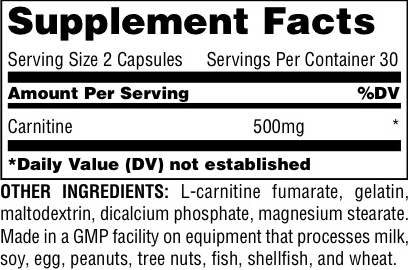 Universal Nutrition Carnitine Capsules Supplement Facts