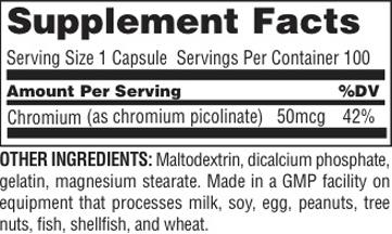 Universal Nutrition Chromium Picolinate Supplement Facts