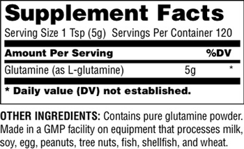 Universal Nutrition Glutamine Powder Supplement Facts