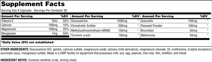 Universal Nutrition Jointment Sport Supplement Facts