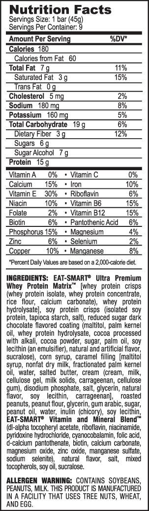 iSatori Eat-Smart Protein Bar Supplement Facts