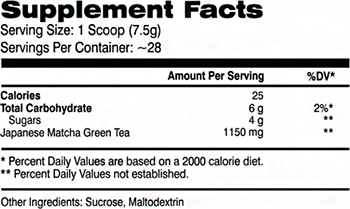 AI Sports Nutrition Magic Matcha Supplement Facts