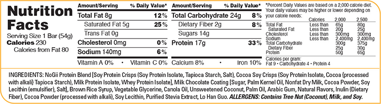 Nogii High Protein Bars Supplement Facts