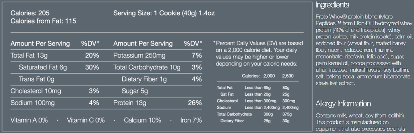 Power Crunch Bars Supplement Facts