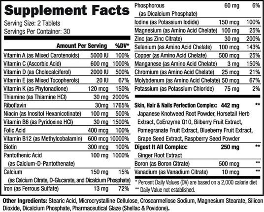 Gym Angel Vital Angel Supplement Facts