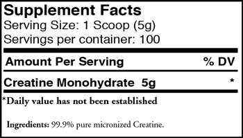 Myogenix Creatine SuppFacts