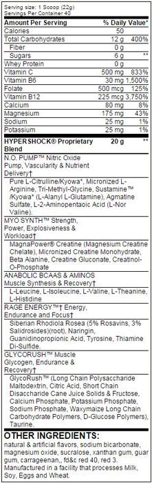 Myogenix Hypershock Rage Caffeine-Free SuppFacts