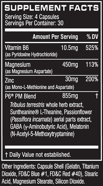 Cellucor P6 PM Supplement Facts