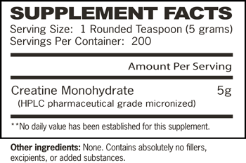 Essentials Creatine Monohydrate 1000 SuppFacts