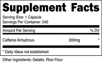 Nutricost Caffeine Supplement Facts