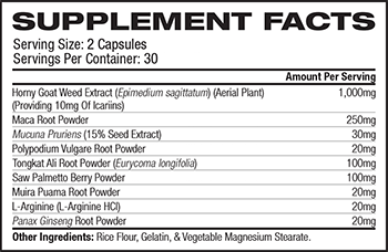 Zhou Nutrition Horny Goat Weed Supplement Facts