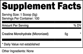 Creatine Monohydrate SuppFacts