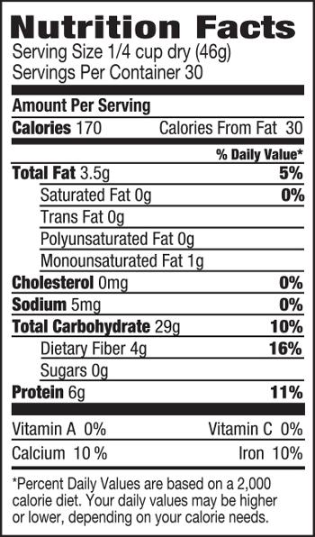 Organic Quinoa Medley SuppFacts