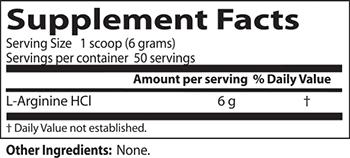 Doctor's Best L-Arginine Powder Supplement Facts