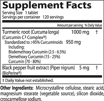 Doctor's Best Curcumin C³ Complex Supplement Facts