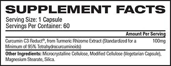 Futurbiotics Turmeric Extract Curcumin C3 Reduct Supplement Facts