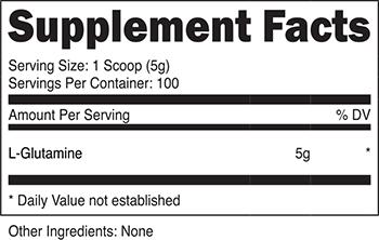 Nutricost L-Glutamine Supplement Facts