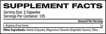 NOW L-Arginine Supplement Facts