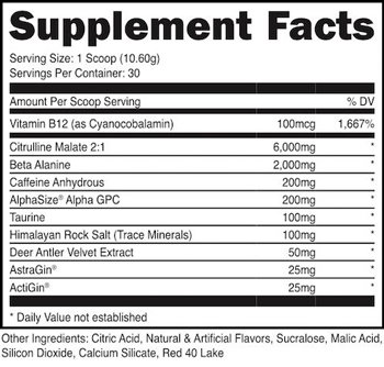 Image result for bucked up pre workout ingredients