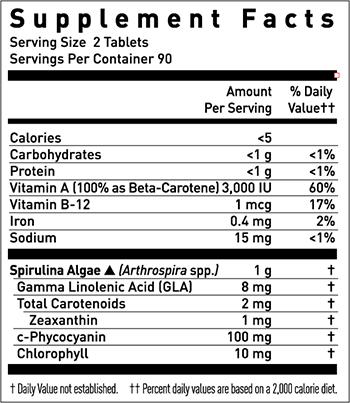 Gaia Herbs Spirulina Supplement Facts