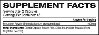 GreenPacks Fenugreek Supplement Facts