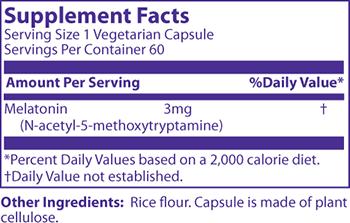 MRM Melatonin Supplement Facts