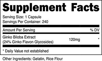 Nutricost Ginkgo Biloba Supplement Facts