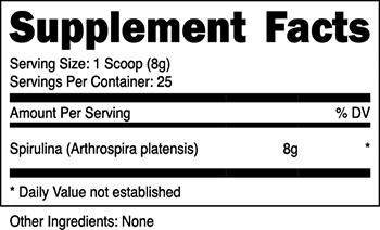 Nutricost Spirulina Supplement Facts