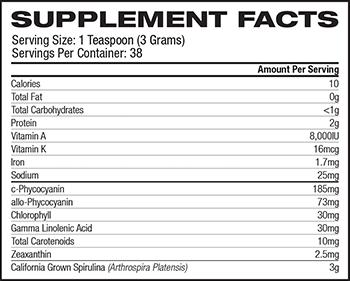 Pure Planet Spirulina Powder Supplement Facts