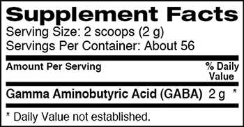 Dymatize Nutrition GABA Supplement Facts