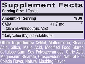 Natrol GABA Supplement Facts