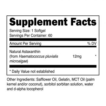 Nutricost Astaxanthin Supplement Facts