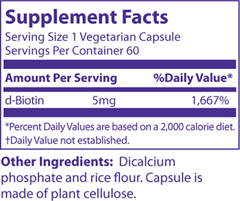 MRM Biotin Supplement Facts