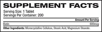 Source Naturals Biotin Supplement Facts