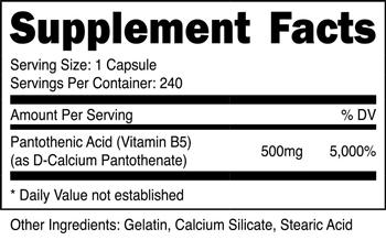 Pantothenic Acid Vitamin SuppFacts