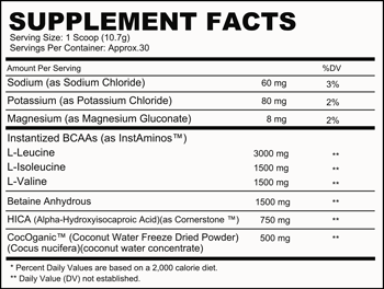 BCAA CMPLX SuppFacts