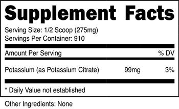Potassium Citrate Powder SuppFacts