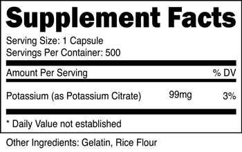 Potassium Citrate SuppFacts