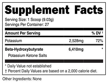 Potassium Ketone Salts SuppFacts