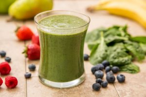 A freshly made Green Smoothie. Healthy eating and healthy living.
