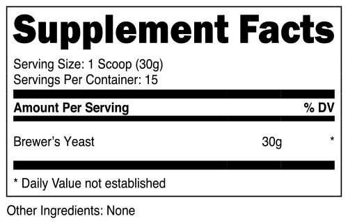 Nutricost Brewer's Yeast Supplement Facts