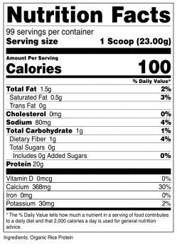 Organic Rice Protein Powder SuppFacts