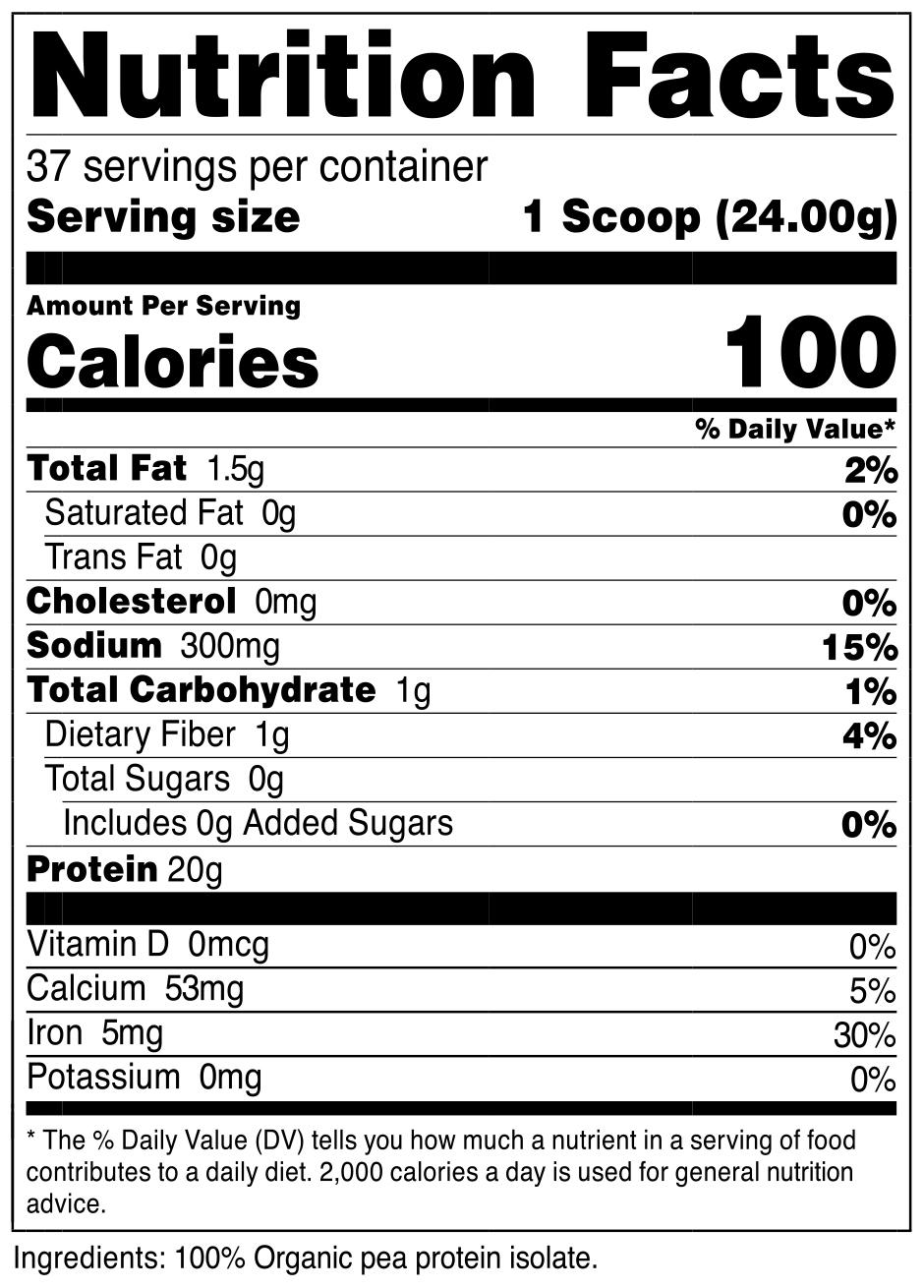 Organic Pea Protein Powder SuppFacts