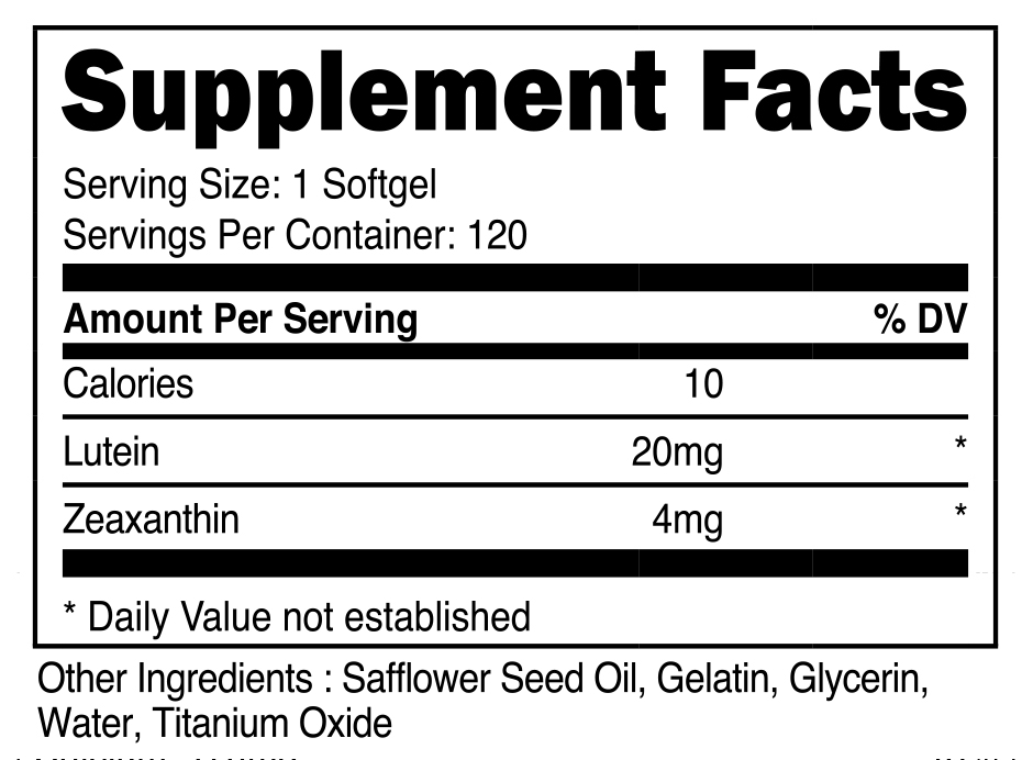 Nutricost Zeaxanthin with Lutein Supplement Facts