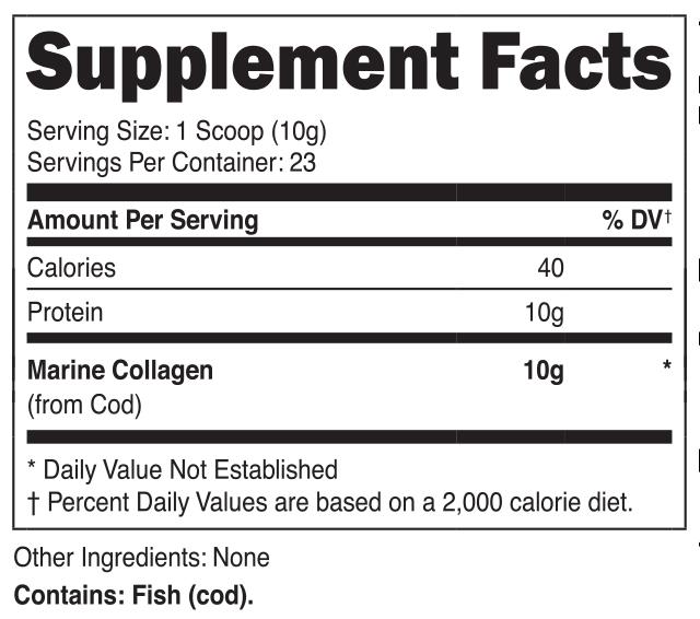 Nutricost Marine Collagen Supplement Facts