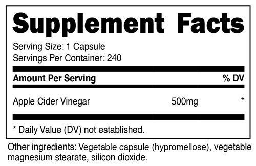 Nutricost Apple Cider Vinegar Supplement Facts