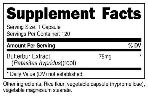 Nutricost Butterbur Supplement Facts