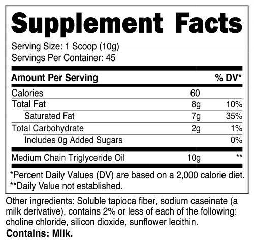 C8 MCT Oil Powder SuppFacts